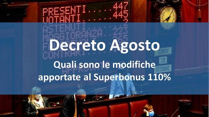 Decreto Agosto : quali sono le modifiche apportate al Superbonus 110%