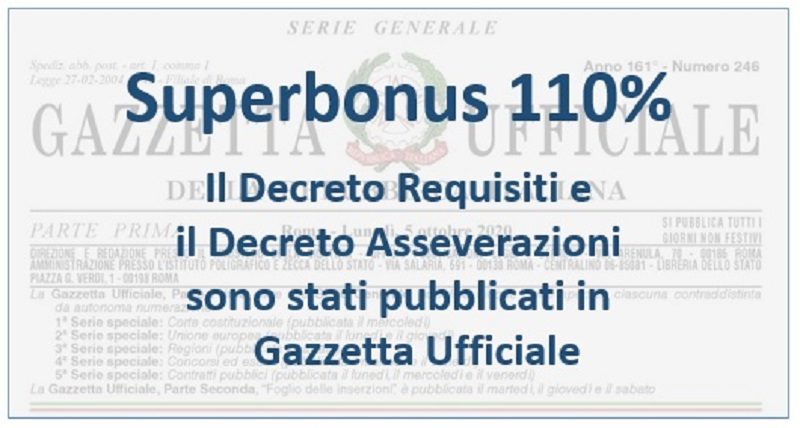 Superbonus 110% : i decreti Asseverazioni e Requisiti in Gazzetta Ufficiale