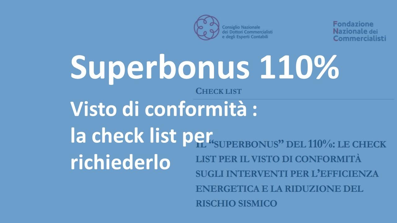 Superbonus 110% : check list per la richiesta del visto di conformità
