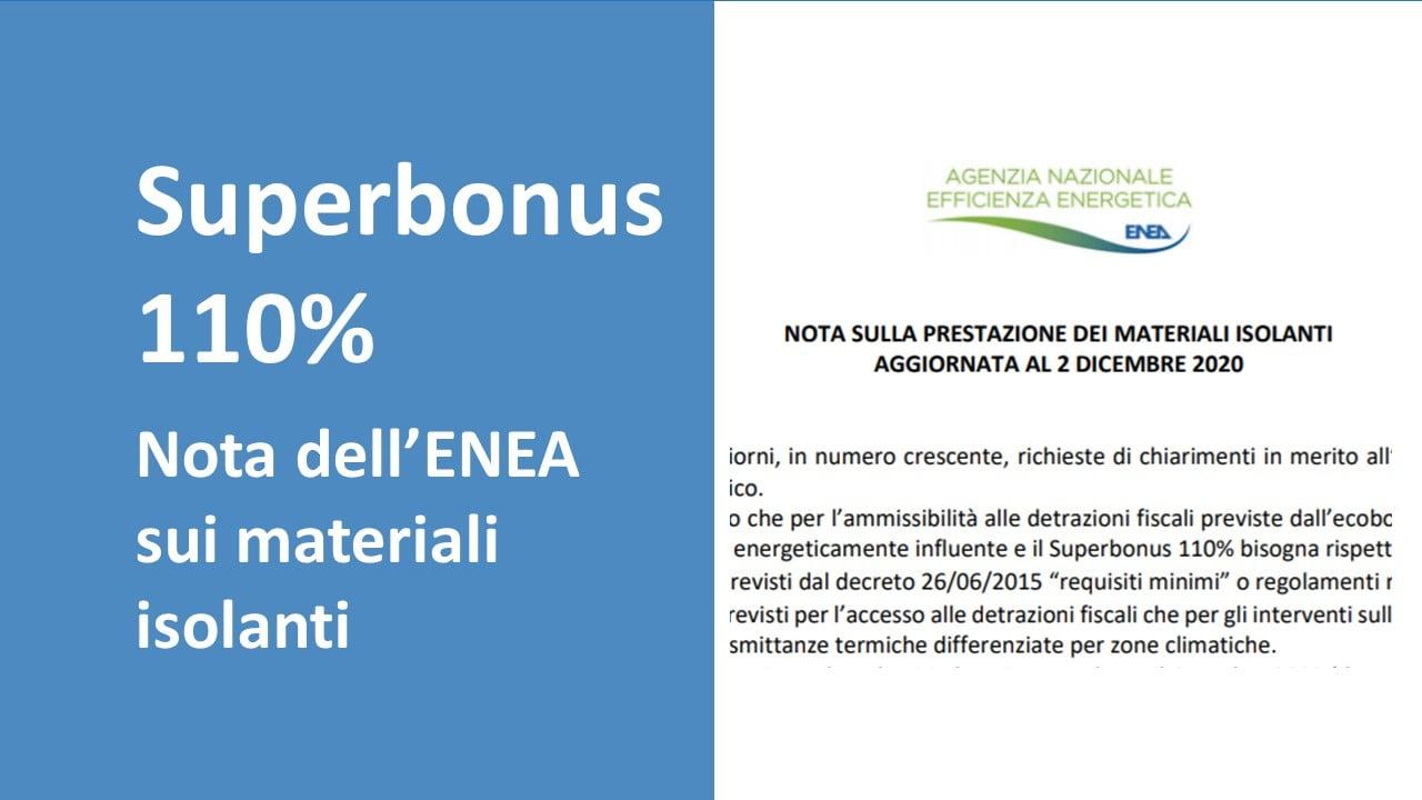 Superbonus 110% e materiali isolanti: nota dell'ENEA